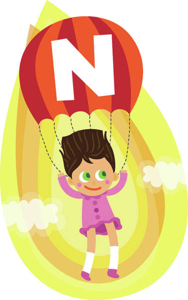 Word Play Photograph - Illustration Of Girl Parasailing In Mid Air by Fanatic Studio / Science Photo Library
