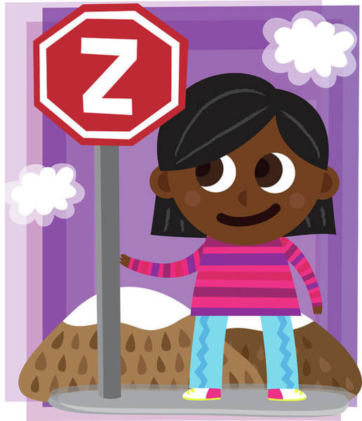 Word Play Photograph - Illustration Of Girl Standing By Sign Post With Letter Z by Fanatic Studio / Science Photo Library