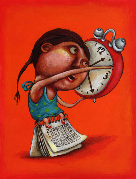 Alarm Clock Photograph - Illustration Of Girl With Alarm Clock And Calendar by Fanatic Studio / Science Photo Library