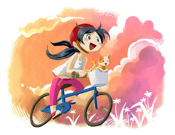 Wall Art - Photograph - Illustration Of Girl With Cat Riding Bicycle by Fanatic Studio / Science Photo Library