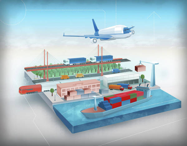 Logistics Photograph - Illustration Of Global Logistic Concept by Fanatic Studio / Science Photo Library