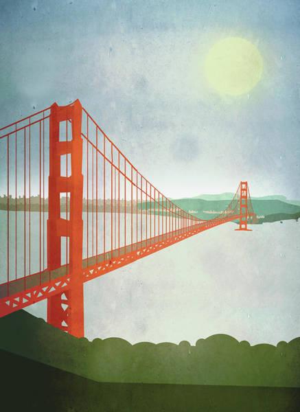 Digital Art - Illustration Of Golden Gate Bridge Over by Malte Mueller