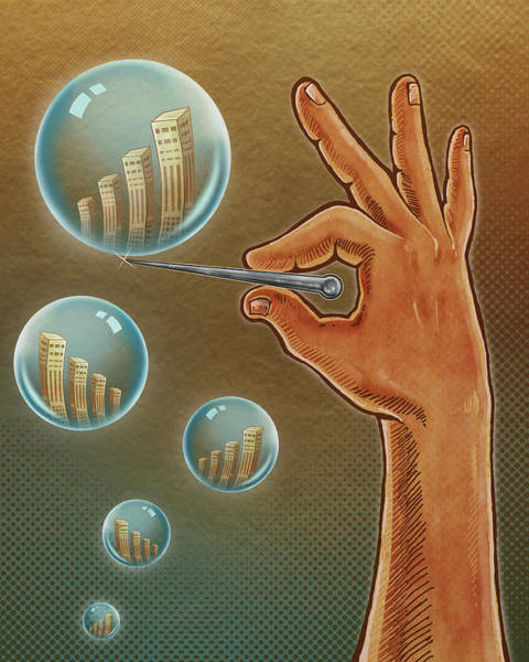 Scaling Photograph - Illustration Of Hand Bursting Bubble by Fanatic Studio / Science Photo Library