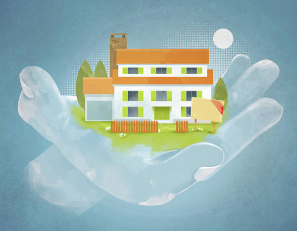 Buy Photograph - Illustration Of Hand Holding House by Fanatic Studio / Science Photo Library
