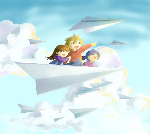 Wall Art - Photograph - Illustration Of Happy Children On Paper Plane by Fanatic Studio / Science Photo Library