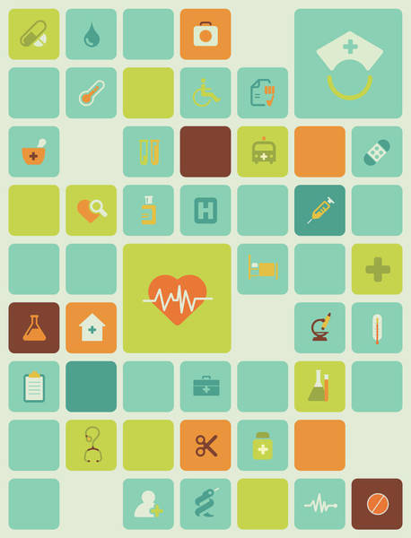 Bandage Photograph - Illustration Of Hospital Icons Over White Background by Fanatic Studio / Science Photo Library