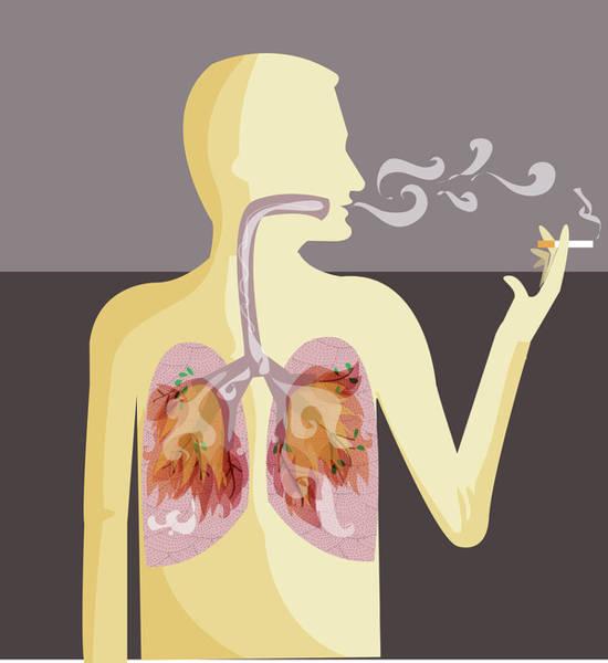 Social Living Wall Art - Photograph - Illustration Of Human Representation Smoking Cigarette by Fanatic Studio / Science Photo Library