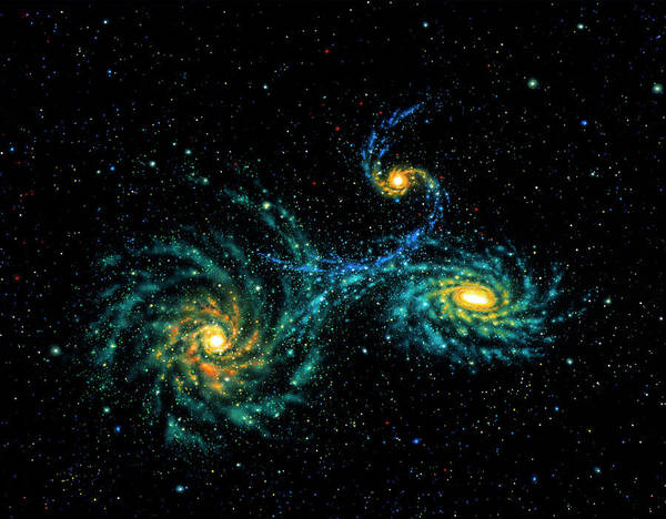 Interacting Galaxies Wall Art - Photograph - Illustration Of Interacting Galaxies by Lynette Cook/science Photo Library