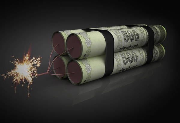 Legal Tender Photograph - Illustration Of Lighted Rupee Dynamite by Fanatic Studio / Science Photo Library