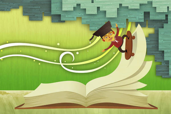 Illustration Of Male Graduate Skateboarding On An Open Book Art Print