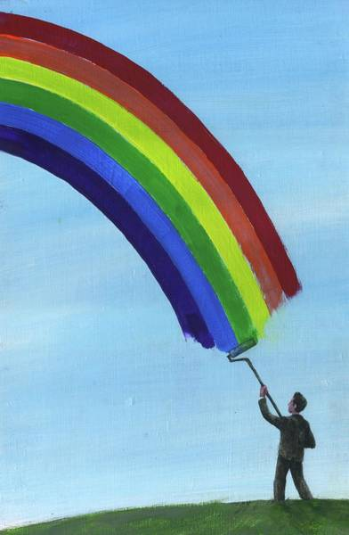 Aim Photograph - Illustration Of Man Drawing Rainbow In Sky by Fanatic Studio / Science Photo Library
