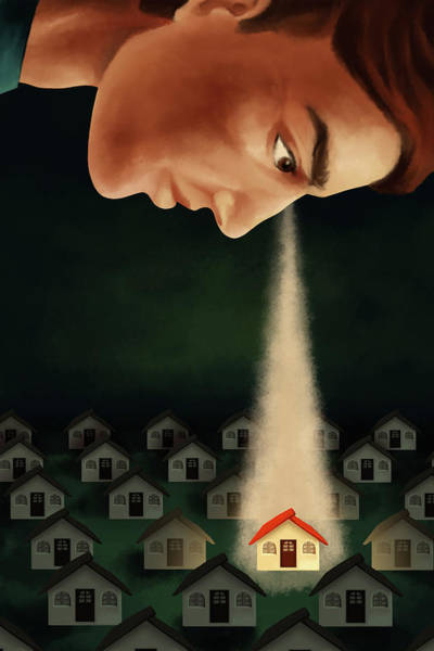 Out Of Business Wall Art - Photograph - Illustration Of Man Keeping An Eye On House by Fanatic Studio / Science Photo Library