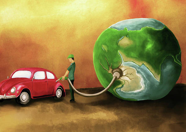 Wall Art - Photograph - Illustration Of Man Refuelling Car by Fanatic Studio / Science Photo Library