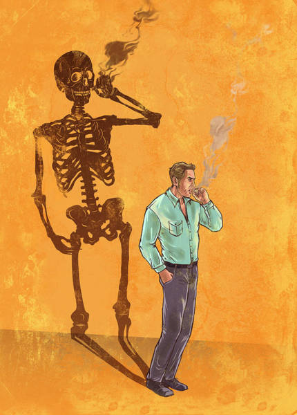 Social Living Wall Art - Photograph - Illustration Of Man Smoking Cigarette With Skeleton Shadow by Fanatic Studio / Science Photo Library