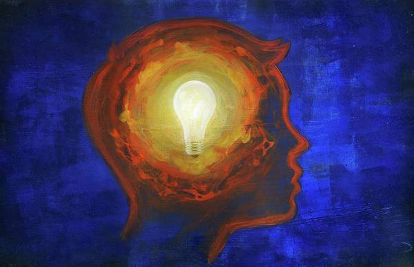 Wall Art - Photograph - Illustration Of Man With Lit Bulb In Head by Fanatic Studio / Science Photo Library