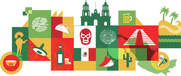 Animal Place Photograph - Illustration Of Mexico Over White Background by Fanatic Studio / Science Photo Library