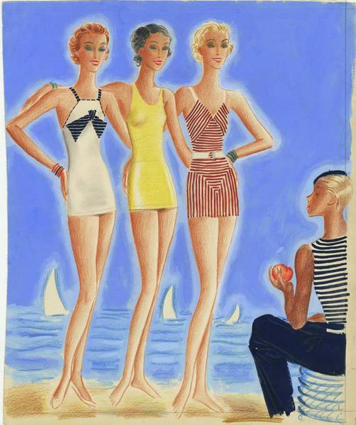 Illustration Of Models On A Beach Wearing Bathing Art Print