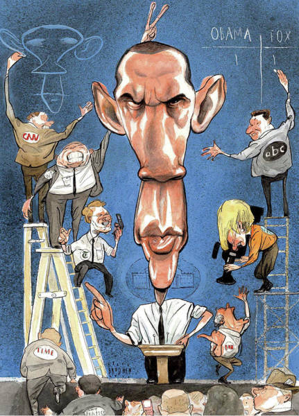 Television Digital Art - Illustration Of Obama Giving A Speech by Steve Brodner