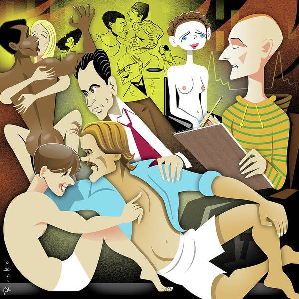 Group Of People Digital Art - Illustration Of People Engaging In Sexual by Robert Risko