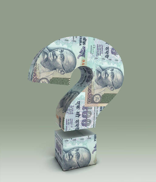 Wall Art - Photograph - Illustration Of Question Mark Made Of Indian Currency by Fanatic Studio / Science Photo Library