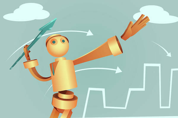 Aim Photograph - Illustration Of Robotic Businessman by Fanatic Studio / Science Photo Library