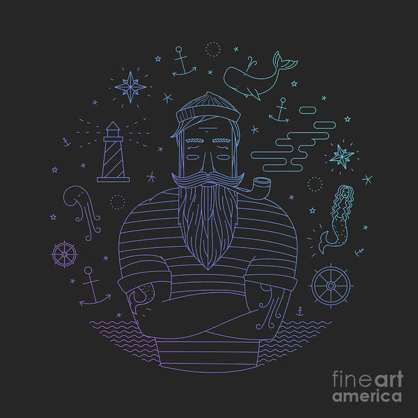 Emblem Wall Art - Digital Art - Illustration Of Sailor With Pipe Dreams by Fay Francevna