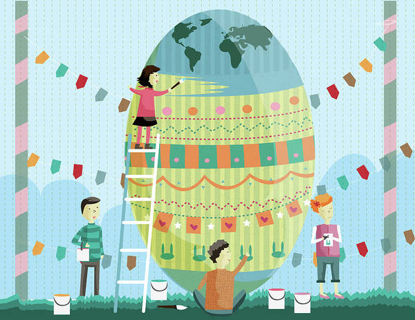 Big Boy Photograph - Illustration Of Siblings Painting Easter Egg by Fanatic Studio / Science Photo Library
