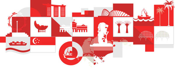 Wall Art - Photograph - Illustration Of Singapore Over White Background by Fanatic Studio / Science Photo Library