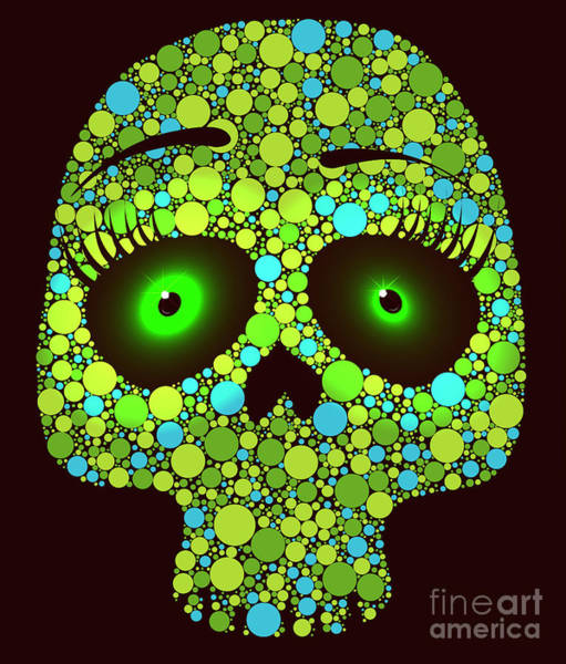 Visual Illusion Wall Art - Digital Art - Illustration Of Skull Made With Colored by Ola-ola