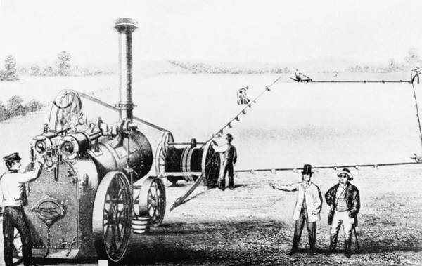 Traction Photograph - Illustration Of Steam Engine Powering A Plough by Science Photo Library