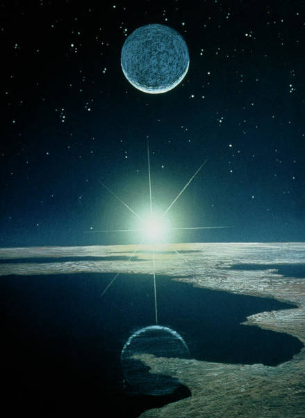 Mythical Photograph - Illustration Of Sunrise Over A Mythical Planet by Chris Butler/science Photo Library