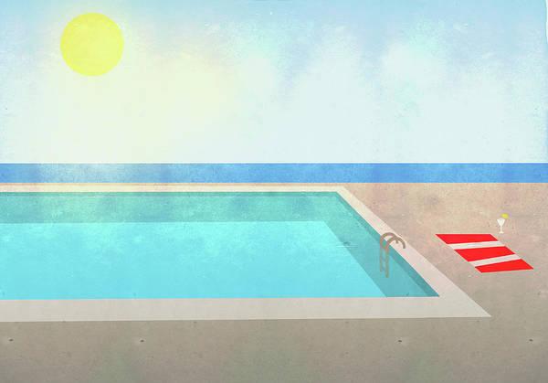 Digital Art - Illustration Of Swimming Pool On Sunny by Malte Mueller