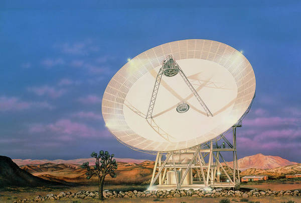 Satellite Receiver Photograph - Illustration Of The 34m Antenna At Goldstone by Lynette Cook/science Photo Library