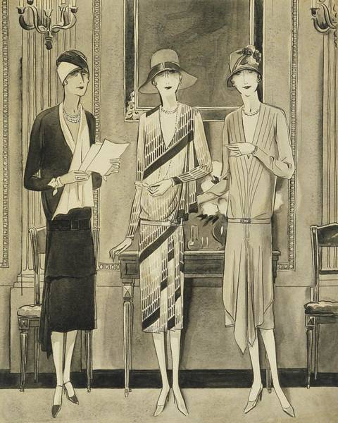 Chair Digital Art - Illustration Of Three Fashionable Women by William Bolin