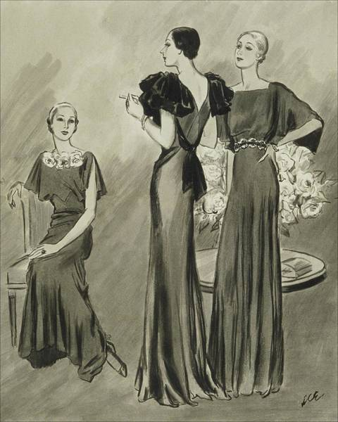 Chair Digital Art - Illustration Of Three Models In Evening Gowns by Creelman