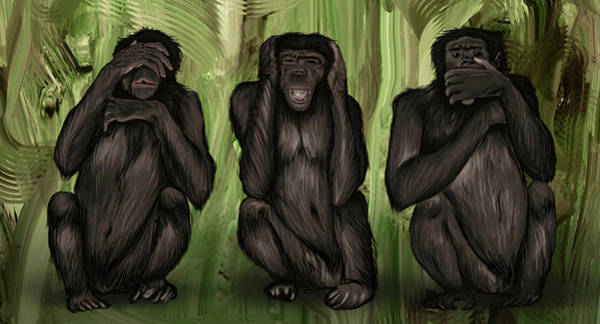 Wall Art - Photograph - Illustration Of Three Monkeys Covering Eyes by Fanatic Studio / Science Photo Library