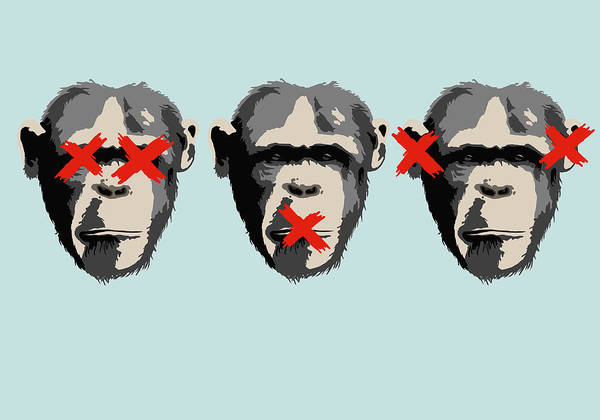 Covering Digital Art - Illustration Of Three Monkeys by Malte Mueller