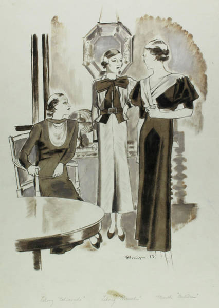 Digital Art - Illustration Of Three Women Wearing Day Dresses by Pierre Mourgue