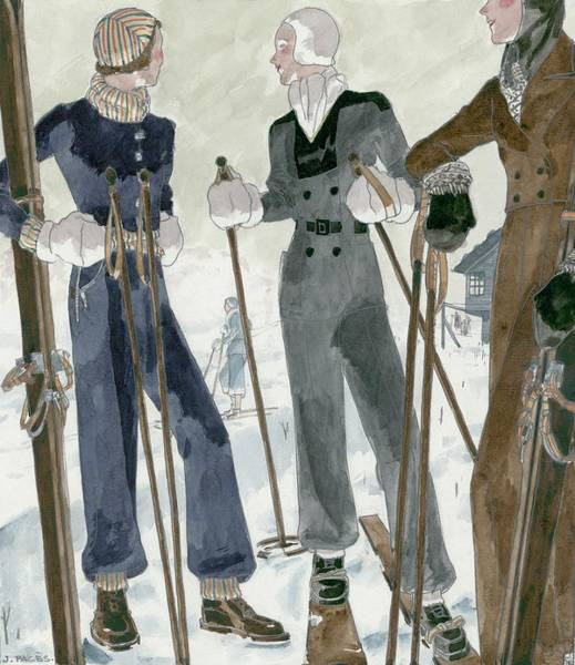 Footwear Digital Art - Illustration Of Three Women Wearing Ski Suits by Jean Pages
