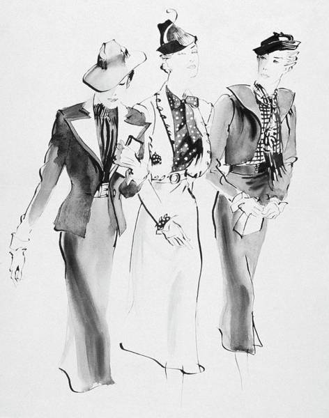 Headgear Digital Art - Illustration Of Three Women Wearing Skirt Suit by Rene Bouet-Willaumez
