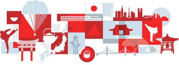 Bamboo Photograph - Illustration Of Tourist Attractions In Japan by Fanatic Studio / Science Photo Library