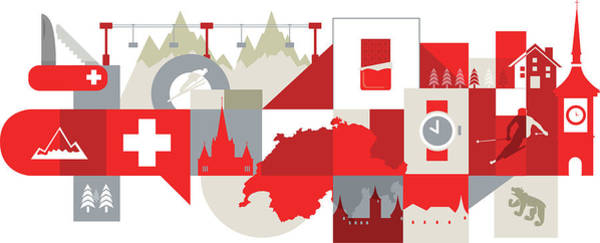Wall Art - Photograph - Illustration Of Tourist Attractions In Switzerland by Fanatic Studio / Science Photo Library