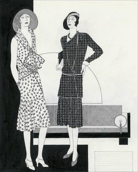 Dress Digital Art - Illustration Of Two Models Wearing Dresses by Polly Tigue Francis