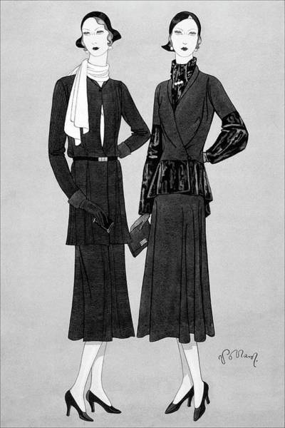 Footwear Digital Art - Illustration Of Two Women In Lavin Suits by Douglas Pollard