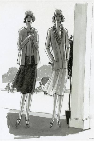 Drawing Digital Art - Illustration Of Two Women Standing In A Shadow by Porter Woodruff