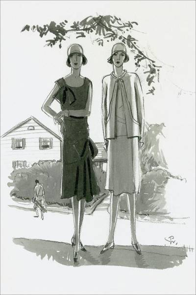 House Digital Art - Illustration Of Two Women Standing In Shadow by Porter Woodruff