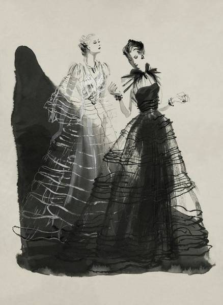 Fashion Digital Art - Illustration Of Two Women Wearing Evening Gowns by Rene Bouet-Willaumez