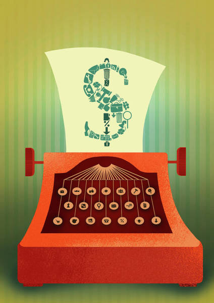 Language Photograph - Illustration Of Typewriter Printing Out Dollar Sign by Fanatic Studio / Science Photo Library