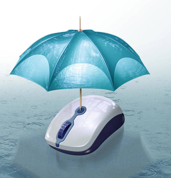 Buy Photograph - Illustration Of Umbrella Covering Computer Mouse by Fanatic Studio / Science Photo Library
