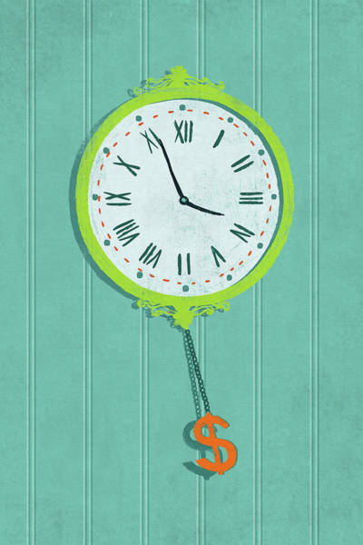 Illustration Of Wall Clock With Dollar Sign Art Print